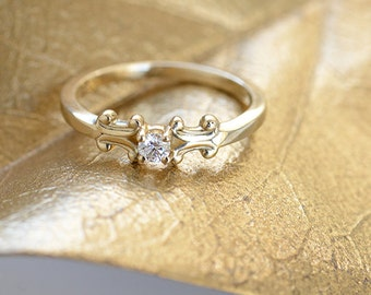 Gold Wedding Ring, Gold Solitaire Wedding Ring, Gold and Diamond Scroll Ring