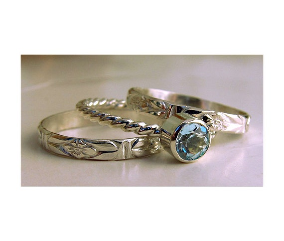 Blue Topaz Silver Stacking Rings - Set of 3