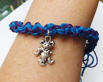 Grateful Dead Dancing Bear Hemp Bracelet Anklet   handmade macrame girls jewelry  hippie  Deadhead