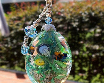 Aquarium Teardrop - Lampwork Beads - Wired Focal Bead
