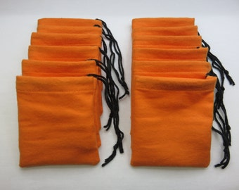 Set of 12, Orange Cotton Flannel Hoo Doo / Mojo Bags / Jewelry / Earring Pouches