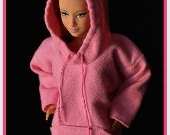 Barbie Hoodie Pink Flannel Made to Order Barbie Clothes Curvy Barbie Petite Barbie Fashionista Tall Barbie