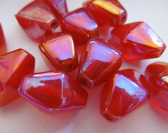 Vintage Glass Beads (6) Large Tanerine AB Bicone Focal Beads