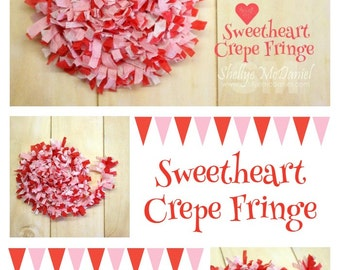Sweetheart Handmade Crepe Paper Fringe, Festooning, Trim, Garland, Decoration, Party, Craft Supply, Streamer, DIY, Valentine, Red, Pink