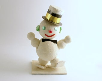 Vintage Christmas Decoration Snowman on Skis