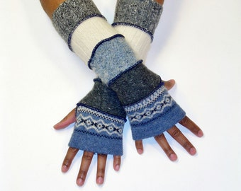Fingerless Gloves, Arm Warmers, Patchwork Gloves (Denim Blue Print/Patched Grey/Soft Blue/Off White/Patched Mottled Grey)