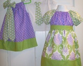 Sibling Set Peasant Dress and Matching Pillowcase Dress Custom Made to Order Size 6/9M to 8 add a Mommy Skirt or Brother Tie or Tie T