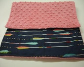 Navy Aqua Coral Arrows Burp Cloth 11 x 19  READY TO SHIP