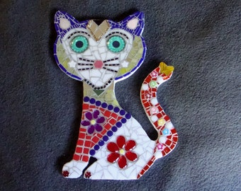 Mosaic Cat Talavera Style One of A Kind Original