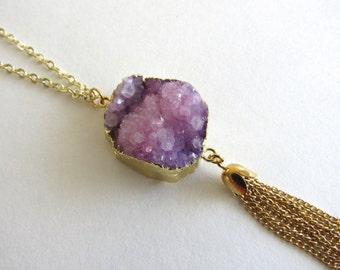 "SALE Purple Druzy Necklace Gold Statement 24"" Handmade Long Gold Chain Lavender Stone Natural Stone Gift Tassel Necklace Dawn of Creation"