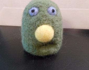 Little Green Wool Needle Felted Friendly Monster
