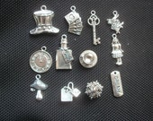 12 Assorted Alice in Wonderland Charms Silver Tone Metal