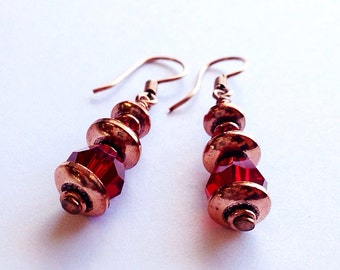copper jewelry - copper anniversary gift - copper earrings - copper metal earrings - 7th anniversary - gifts for wife -red crystal earrings