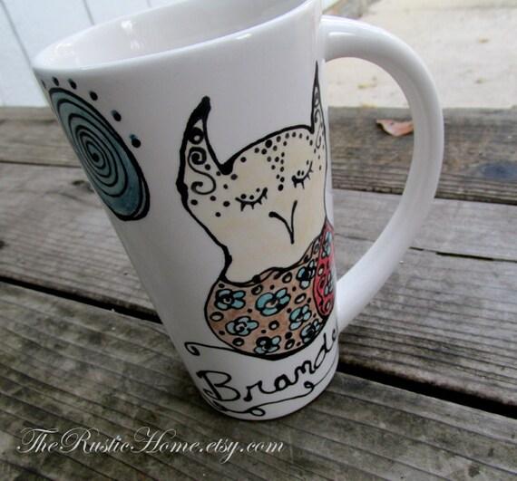 Henna owl mug tall bistro coffee mug pottery mug tea owls moon dots custom pottery mug