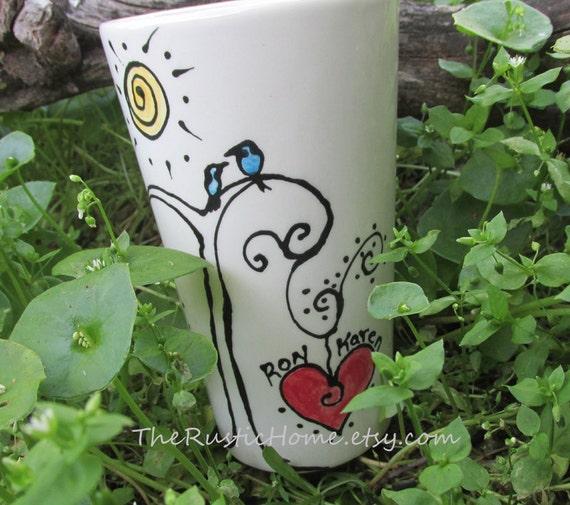 Love birds pottery mug blue bird heart personalized mug love friends wedding gift anniversary custom mug birds tree heart sunshine