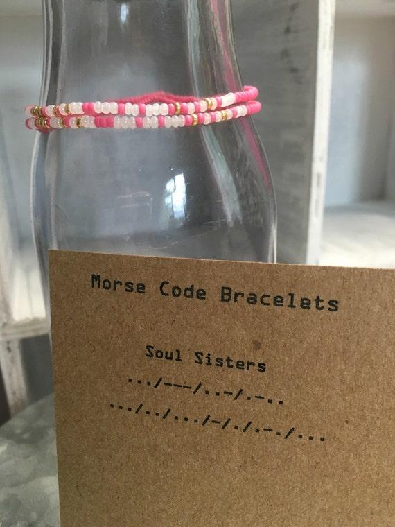 Soul Sister's Morse Code 2 pack Stretchy Bracelet Set - Pink