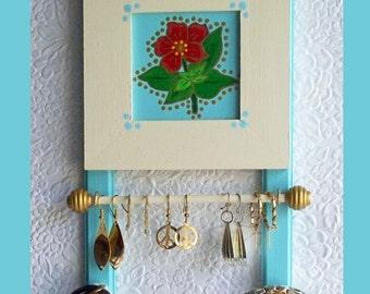 Small Bathroom Jewelry Holder Teal, Wall Jewelry Holder, Jewelry Organizer, Wall Jewelry Hanger, Wood Jewelry Rack, Jewelry Display