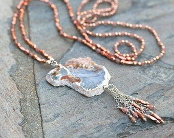 Crystal Druzy Agate Slice Pendant, Muscovite, Copper Beads and Rose Gold Beaded Silk Cord Necklace, Sterling Silver Tassel, Bohemian Jewelry