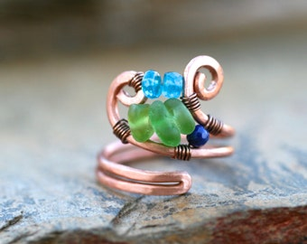 Green Sea Glass, Teal Blue Apatite, Lapiz Lazuli Gemstone Handmade Wire Wrapped Copper Ring