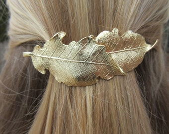 Petra Gold Leaf Barrette Layered Leaves Boho chic Hair Clip Unique Nature Ponytail Holder bohemian pony wrap bespoke accessory Trendy Gift
