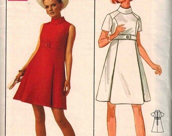 1960-65 A Line Dress Sewing Pattern Vintage Butterick 5059 Size 12 Retro Mod Jean Muir of Jane and Jane