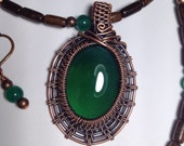 Amazing Green Agate necklace and earrings
