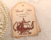 Tea Party Tags Thank You Vintage Teapot Set of 10