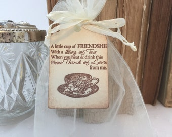 Friendship Favor Sets Tea Party DIY Organza Bags and Teapot Tags
