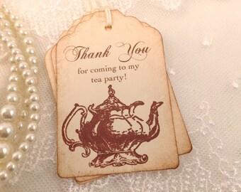 Tea Party Thank You Tags Vintage Teapot