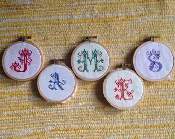 Cross Stitch Monogram Sampler Alphabet Initial