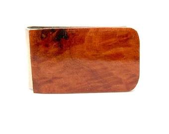 Handmade Wood Money Clip Box Australian Red Gum Burl Wood