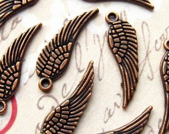 Copper Wing Charms / Pendants - Set of 12 - 17mm Angel Wings Antique Copper Finish (BC0038)