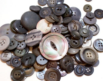 Gray Buttons, Vintage Gray Button Lot x 100 pieces, Used Garment Buttons