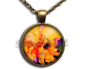 SALE - Flowers Orange Yellow Hues Glass Dome Pendant or with Chain Link Necklace NT133