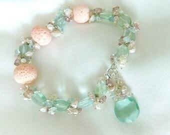 Coral Bracelet - Fluorite Bracelet - Pink Tourmaline - Statement Bracelet