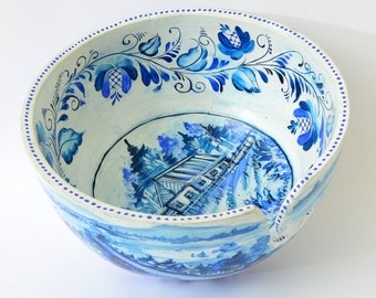 Yarn Bowl - Hand Painted Yarn Bowl - Russian Style