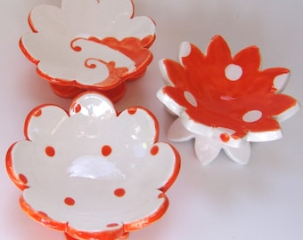 Tangerine pottery Dish Set :) 3 ceramic serving flowers, whimsical hostess gift, bright orange candleholders, polka-dot ring dish