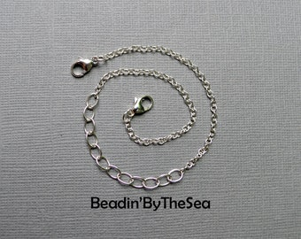 Adjustable Bracelet Chain Detachable Sterling Silver Cable Chain for Links Charm Mama Metal