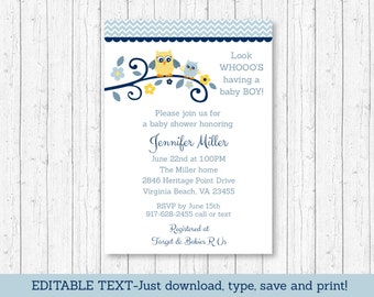 Cute Owl Baby Shower Invitation / Owl Baby Shower Invite / Blue Owl Invite / Boy Owl / Baby Boy Shower / INSTANT DOWNLOAD Editable PDF A120