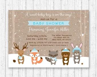 Winter Woodland Baby Shower Invitation / Woodland Baby Shower Invite / Winter Baby Shower / Snowy Forest / Blue / Baby Boy / PRINTABLE A122