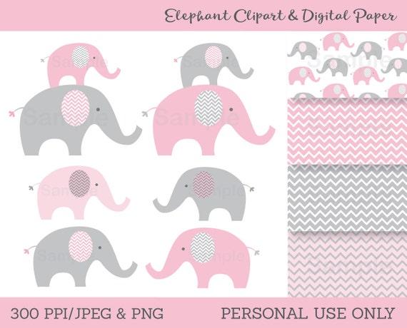 Pink Elephant Clipart / Elephant Digital Paper / Elephant ...