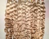 "1 oz. (have 2 oz) 10"" natural ombré blondes light brown medium brown mohair locks for doll hair wigs fairies Blythe Barbie craft supplies"