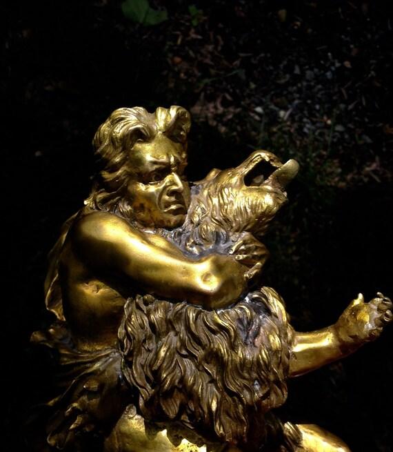 Antique Continental Bronze Ormolu Sculpture Hercules Wrestling the Nemean Lion