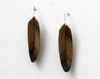 Handcarved Rainbow Poplar and Mahogany Wood Feather Earrings J160361