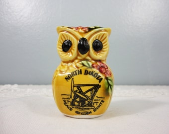 "Vintage Owl Souvenir Toothpick Holder - North Dakota ""Peace Garden State"""