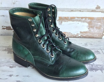 Vintage Justin Boots - Lace Up - Green -Size 7