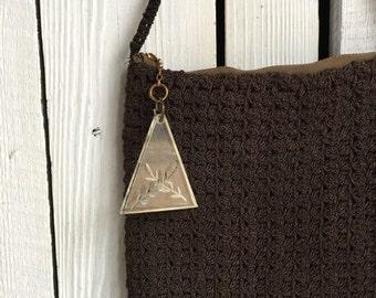 Vintage Crochet Purse with Lucite Pull - Brown Hand Bag - Handmade Vintage - Hippie Boho