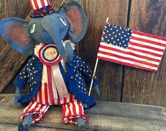 Folk Art Elephant Americana Doll