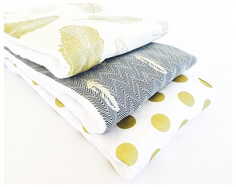 GOLDEN FEATHERS........ (3) very ABSORBENT 100% cotton baby burp cloths with coordinating fun cotton print......very useful gift