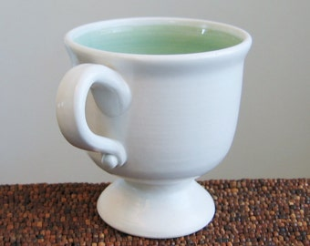 Wine Goblet, Pottery Chalice, Footed Coffee Cup 10 oz. Stoneware Ceramic Handmade Cup  in Mint Green